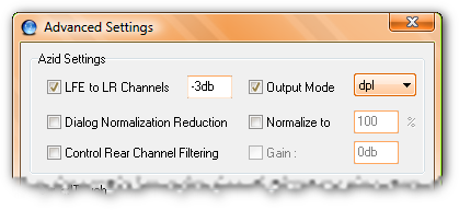[x] LFE to LR Channels: -3db; [] Dialog Normalization Reduction; [] Control Rear Channel Filtering; [x] Output Mode: dpl; [] Normalize to 100%